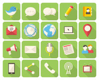 Meios e ícones de uma comunicação Imagens de Stock Royalty Free
