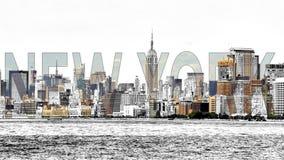 Meios mistos de New York - foto com efeito do esboço fotos de stock