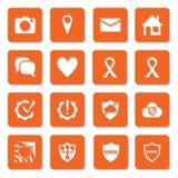 Meios, segurança da rede e ícones sociais dos ajustes Foto de Stock