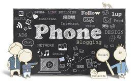Meios sociais com o telefone que Blogging ilustração royalty free