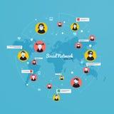 Meios sociais, conceito da rede Projeto liso Vetor Fotografia de Stock