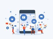 Meios sociais da ilustração lisa do vetor e conceito em linha de mercado digital da conexão ilustração stock