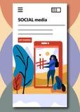 Meios sociais em telas de embarque - ilustração lisa do vetor do estilo ilustração stock
