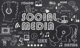 Meios sociais no quadro-negro ilustração royalty free