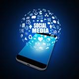 Meios sociais no telefone celular, ilustração do telefone celular Fotos de Stock Royalty Free