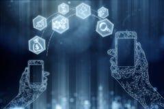 Meios sociais, operação bancária em linha, conceito futuro Imagem de Stock