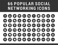66 meios sociais populares, ícones ajustados das formas circulares dos trabalhos em rede imagem de stock