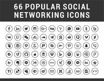 66 meios sociais populares, ícones ajustados do círculo dos trabalhos em rede ilustração do vetor