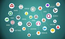 Meios sociais que conectam os ícones do mundo Imagem de Stock