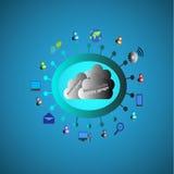Meios sociais que conectam povos diferentes pelo mundo inteiro com os vários modos através da nuvem Fotografia de Stock