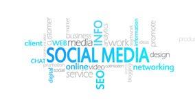 Meios sociais, tipografia animado