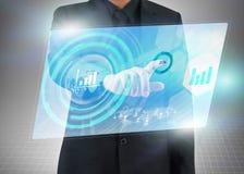 Meios sociais virtuais, tela táctil Fotografia de Stock Royalty Free