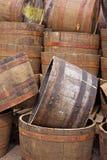 Meios tambores empilhados fotografia de stock