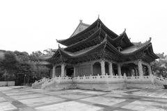 meishansi寺庙黑白图象 库存图片
