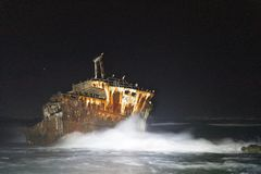 Meisho Maru Shipwreck along the Agulhas Coast at the Southern Most tip of Africa and South Africa stock photography