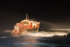Meisho Maru Shipwreck along the Agulhas Coast at the Southern Most tip of Africa and South Africa royalty free stock image