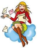 Meisje 03 van de brief met achtergrond Stock Foto