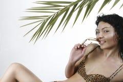 Meisje 2 van de palm stock foto