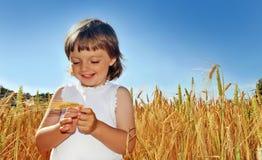Meisje (3 jaar oud) op een korrelgebied Stock Fotografie