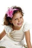meisje 5 jaar die op een witte backgrou wordt geïsoleerdÀ Stock Foto