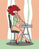 Meisje aan het werk in een call centre Royalty-vrije Stock Foto's