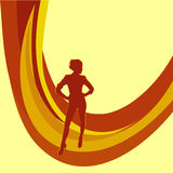 Meisje. Abstracte oranje achtergrond. Stock Foto's
