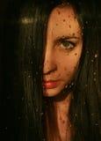 Meisje achter het glas Royalty-vrije Stock Afbeeldingen