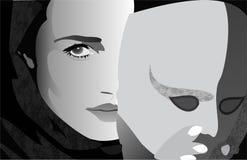 Meisje achter masker Royalty-vrije Stock Foto's