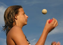 Meisje adn de ballen Royalty-vrije Stock Afbeeldingen