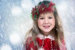 Meisje als santa en elf Stock Afbeeldingen