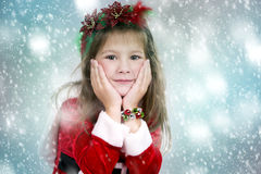 Meisje als santa en elf Stock Fotografie