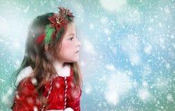 Meisje als santa en elf Stock Foto's