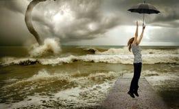Meisje & tornado Royalty-vrije Stock Afbeelding