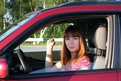Meisje in auto 1 Royalty-vrije Stock Afbeelding