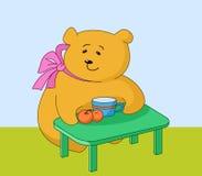 Meisje-beer met perziken Stock Afbeelding