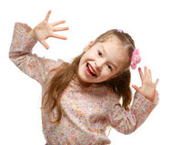 Meisje in beweging. Vrolijk, positief. Stock Foto