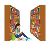 Meisje in bibliotheek die, die boek lezen en met noodzakelijke materialen werken vector illustratie
