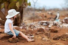 Meisje bij de eilanden van de Galapagos Royalty-vrije Stock Foto's