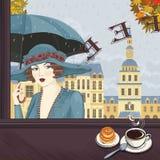 Meisje bij de koffie royalty-vrije illustratie