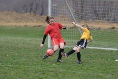 Meisje bij Gebied 21 van het Voetbal Stock Foto's