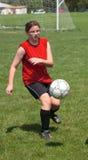 Meisje bij Gebied 29 van het Voetbal Stock Afbeeldingen