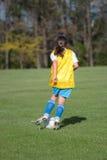 Meisje bij Gebied 40 van het Voetbal Stock Foto