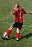 Meisje bij Gebied 45 van het Voetbal Stock Afbeeldingen