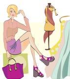 Meisje bij het Winkelen. Manierwinkel met Kleren en FA Royalty-vrije Stock Fotografie