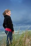 Meisje bij Meer Michigan Stock Fotografie