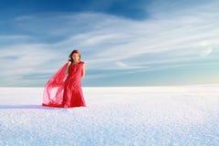 Meisje bij sneeuw Stock Fotografie