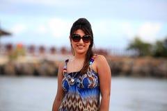 Meisje bij strand Stock Fotografie