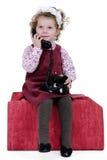 Meisje bij telefoon Royalty-vrije Stock Foto