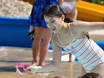 Meisje bij Zwemmende Partij royalty-vrije stock foto's