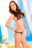Meisje in bikini met bloem in haar het stellen op strand stock afbeeldingen